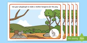 Kangaroo Life Cycle Playdough Mats - lifecycle, life stages, animal growth, ACSSU030, animal reproduction, growth, joey