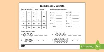 Tabellina del due Attività - tabellina, del, due, esercizio, esercizi, moltiplicazioni, italiano, italian, matematica, materiale,