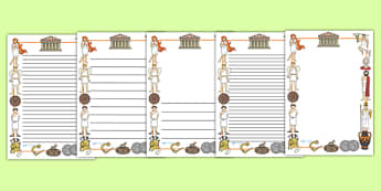 Ancient Greece Page Borders - Ancient Greeks, history, Greeks, page border, border, writing template, writing aid, writing aid, Greece, Olympic games, Homer, Athens, Alexander the Great , theatre, parthenon, Sparta, peloponnesian war, persians