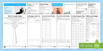 Year 4-6 Father's Day Resource Pack - maths resource pack, maths, area, multiplication facts, colour by number, measuring length, angles