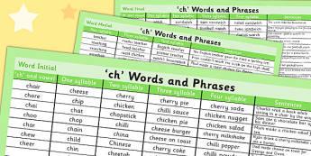 Ch Word List - ch, word list, word, list, sound, ch sound, sen