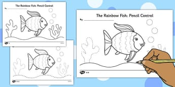 Pencil Control Sheets to Support Teaching on The Rainbow Fish - eyfs, early years, planning, under the sea