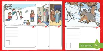 Scrie o carte poștală de Crăciun! Activitate - scrierea funcțională, felicitare, carte poștală, sărbători de iarnă, Crăciun, Romanian