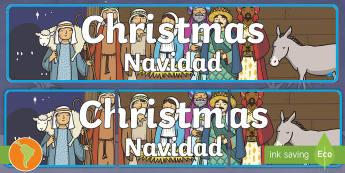 Christmas Display Banner US English/Spanish (Latin) - Christmas Display Banner (Christmas) - Christmas, xmas, display banner, Santa, Father Christmas, tre