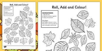 Leaf Roll and Colour Dice Addition Activity - leaf, roll and colour, dice, addition, addition activity, games, dice games, dice activities, colouring, adding