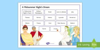 A Midsummer Night's Dream Word Mat - A Midsummer Night's Dream, word mat