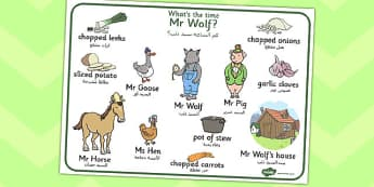 What Time Is It Mr Wolf Word Mat Arabic Translation - arabic