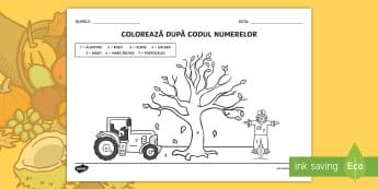 Toamna Colorează după codul numerelor  - numerație, activități manuale, motricitate fină, activități de toamnă, fișe,Romanian