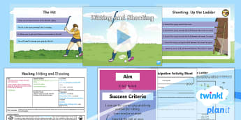 PlanIt PE Year 4 Hockey Lesson Pack Lesson 5 Hitting and Shooting - Hockey, hitting, hit, shooting, shoot, scoring, target, invasion games, KS2, score, goal, Y4, attack