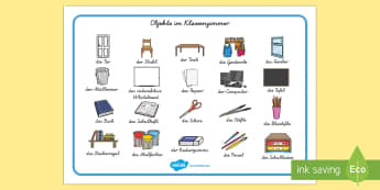 Objekte im Klassenzimmer German - german, classroom objects, classroom, objects, word mat, word, mat