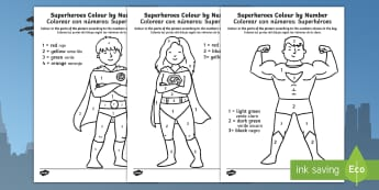 Superheroes Colour by Number English/Spanish - marvel, DC, EAL, Spanish, translation