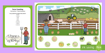 Farm Counting Can You Find...? Poster and Prompt Card Pack - i spy, spotting, discovery, hunt, farm animals, harvest, farmer, countryside