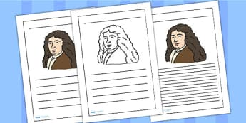 Samuel Pepys Writing Frame - Samuel Pepys, writing frame, writing template, writing guide, writing aid, line guide, writing guide, themed writing aid, aid