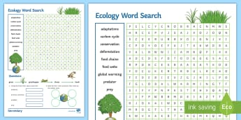 KS4 Ecology Word Search - adaptations, predator, prey, deforestation, conservation
