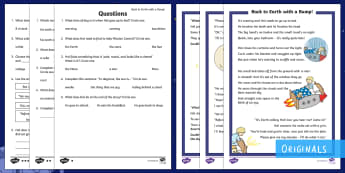 KS1 Back to Earth with a Bump Differentiated Reading Comprehension Activity - Back to Earth with a Bump, space, planets, night and day, dark, sun, Mars, moon, stories, picture bo