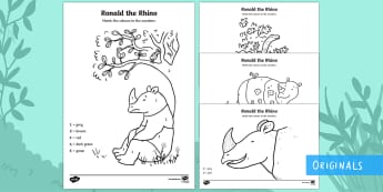 Ronald the Rhino Colour by Number - Ronald the Rhino, rhyming, pattern, story, jungle, Africa, rhino,