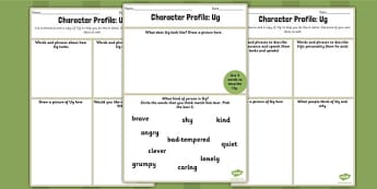 Character Profile Ug Worksheet to Support Teaching on Ug - ug, character, worksheet