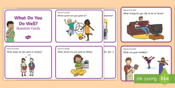 What Can You Do Well Question Cards - self-esteem, all about me, myself, rSE, relationship and sexuality resources, ,Irish