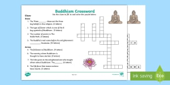 KS1 Buddhism Crossword - Buddha, Buddhist, Activity, Word, English