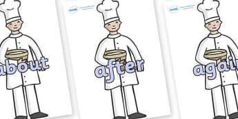 KS1 Keywords on Bakers - KS1, CLL, Communication language and literacy, Display, Key words, high frequency words, foundation stage literacy, DfES Letters and Sounds, Letters and Sounds, spelling