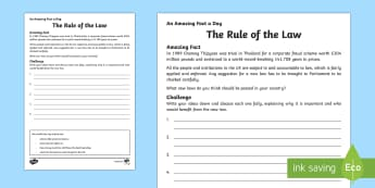The Rule of the Law Activity Sheet - Amazing Fact Of The Day, activity sheets, powerpoint, starter, morning activity, December, law,