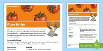 Rainy Day Baking Pizza Recipe - children's baking, children's cooking, children's recipe, pizza recipe, rainy day activity