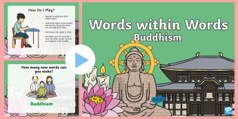 KS1 Buddhism Words within Words PowerPoint Game - Buddhist, Word, Buddha, Activity, Countdown, Buddha