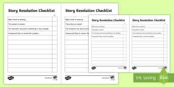 Story Resolution Checklist - story resolution, resolving a story, how to resolve a story, how to end a story, story ending checklist, story finish, ks2