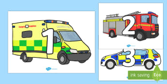 Numbers (0-31) On Emergency Vehicles - 0-31, emergency vehicles, foundation stage numeracy, Number recognition, Number flashcards, counting, number frieze, Display numbers, number posters