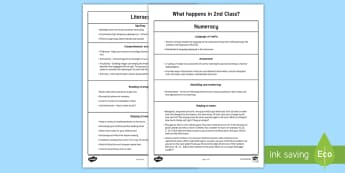 What happens in 2nd Class - Parents' Fact Sheet - parents handout, information, second class, all about, facts, learning ,Irish