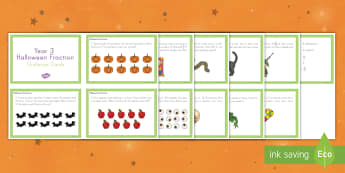 Halloween Fractions Challenge Cards - Halloween, october, festival, fall, celebration, spooky, ghosts, witch, zombies, challenge cards, ma