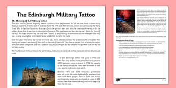 Military Tattoo Information Sheets - scotland, curriculum for excellence, culture, history, edinburgh, work, sheet, primary
