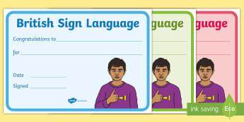 British Sign Language Certificate - bsl, british sign language, deaf, reward, certificate,