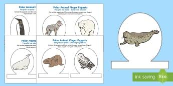 Polar Animal Finger Puppets English/Polish - The Arctic, Polar Regions, north pole, south pole, explorers, finger puppets, Polish translation