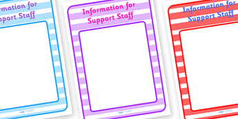 Information for Support Staff Display Poster - Support Staff Information, Classroom sign, welcome, teacher, teaching assistant, welcome sign, door sign, class sign, KS1 sign,  Editable sign, class door sign, Display, Notices, Information