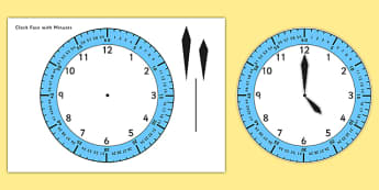 Clock Face with Minutes - clock, time, clock face, minutes, hours