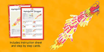 Handprint Dragon Craft Instructions - craft, dragon, handprint, instructions