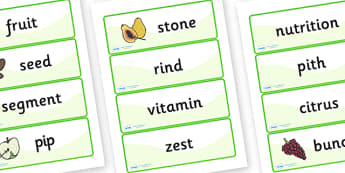 Fruit and Vegetable-Related Words Cards - fruit and vegetables, fruit, vegetables, fruit and vegetable word cards, fruit and vegetable noun words
