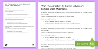 Edexcel Style Sample Exam Questions to Support Teaching on 'War Photographer' by Carole Satyamurti - Imagery, poetry analysis, Carole Satyamurti, Edexcel Poetry, GCSE English Literature, Poetry Antholo