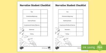 Narrative Student Checklist - story, editing, examples, checkbox, narrative genre features,Australia