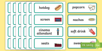 Cinema Role Play Word Cards - Cinema, Film, movie, Role play, play, word card, flashcards, popcorn, ticket, flick, love, drama, action, genres