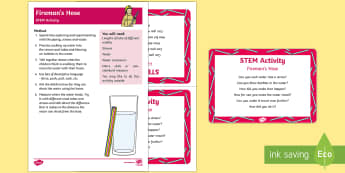 Fireman's Hose STEM Activity and Prompt Card Pack - People Who Help Us, teacher, role, job, information, non-fiction, firemen, fire fighter, fireman, ho