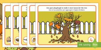 Autumn Number Playdough Mats English/Italian - Autumn, numeracy, play dough, conker, malleable. fall, seasons, EAL