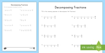 Decomposing Fractions Activity Sheet  - craft, fractions, decomposing fractions, adding fractions, subtracting fractions, worksheet, fourth