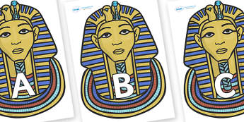 A-Z Alphabet on Tutankhamun - A-Z, A4, display, Alphabet frieze, Display letters, Letter posters, A-Z letters, Alphabet flashcards