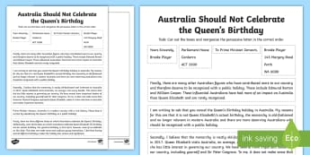 The Queen's Birthday Persuasive Letter Sequencing Activity - Queen Elizabeth, persuasive letter, persuasive text, sequencing,Australia