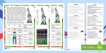 Rugby Six Nations  Differentiated Reading Comprehension Activity - Rugby Six Nations, 4th February 2017, rugby, union, team, Championship, tournament, competition, win