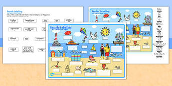 Seaside Scene Labelling Activity Sheet Arabic Translation - arabic, seaside, beach, seaside labelling worksheets, seaside scene worksheets, seaside key words worksheet, seaside words
