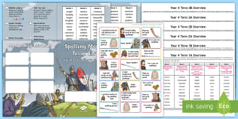 Year 4 Viking Themed Spelling Menu Pack -  spag, gps, home learning, weekly, lists, test, spelling patterns, spelling rules