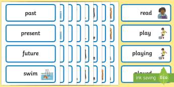 Verb Tenses Word Cards - ESL Mixed Verb Tenses